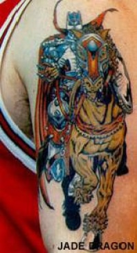colorful viking warrior on horse tattoo
